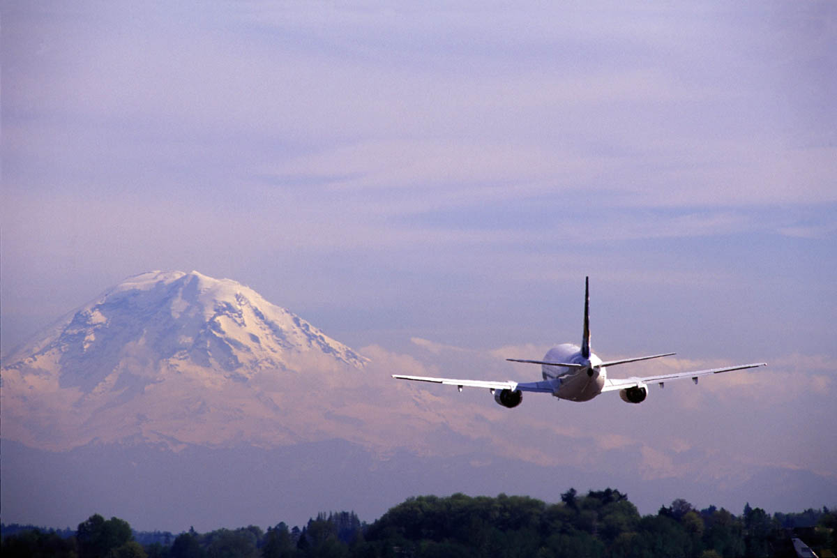 Boeing Airfield, Seattle. Mt. Rainier background